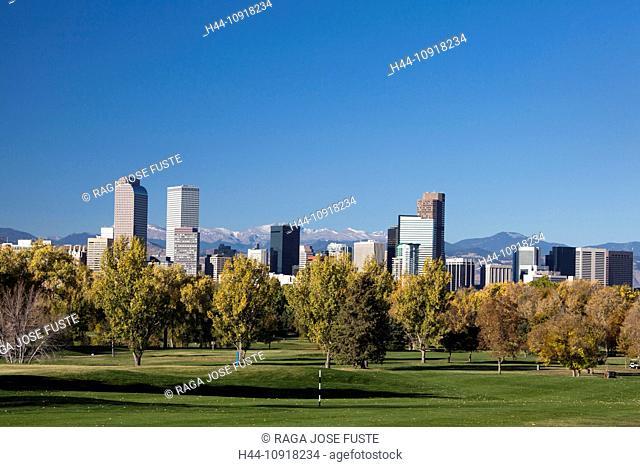 USA, United States, America, Colorado, Denver, City, Downtown, Skyline, Colorado Mountains, Autumn, architecture, city, park, rocky mountains, skyline