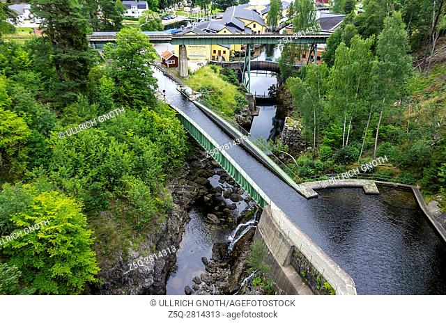 The Dalsland Canal and aqueduct in Haverud, Dalsland, Sweden