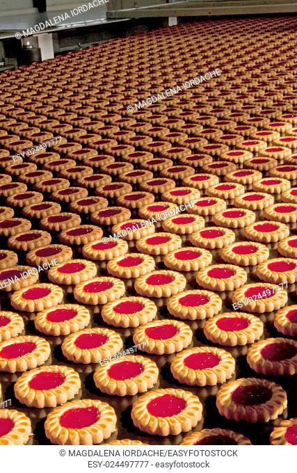 Production of cookies on conveyor