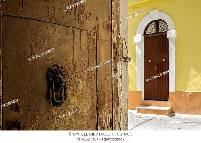 House door in the old town of Gallipoli, Puglia, Italy
