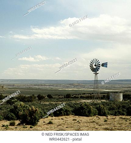 Windmill and Water Tank on the Prairie