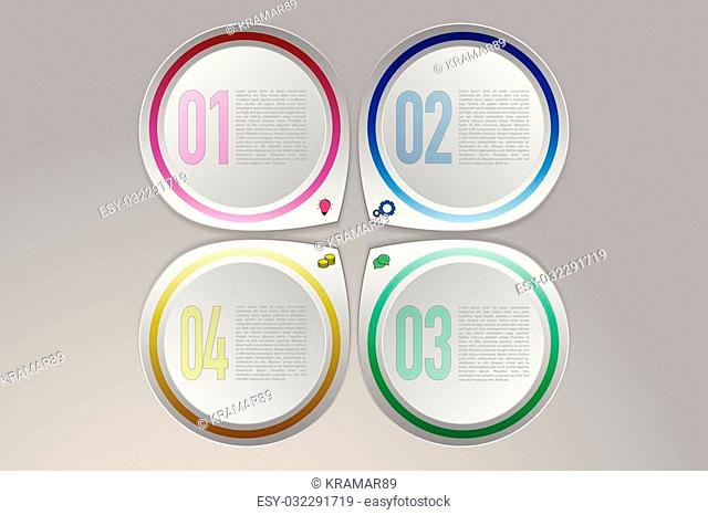 Colorful modern four steps timeline infographics on gradient gray background. Four abstract rounded pointers in same direction with icons in modern 3D style