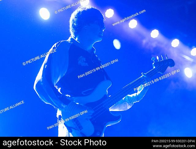 "14 February 2020, Berlin: Nikolai Fraiture, bassist of the US rock band """"The Strokes"""", plays at a concert in the Columbiahalle"