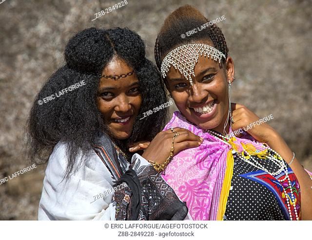 Borana young women in traditional clothing during the Gada system ceremony, Oromia, Yabelo, Ethiopia