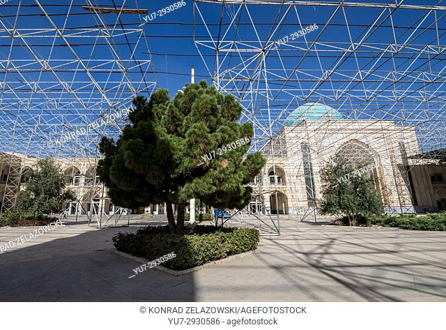 Scaffolds on a courtyard of Mausoleum of Ayatollah Khomeini, houses the tomb of Ruhollah Khomeini and his family in Tehran city, capital of Iran
