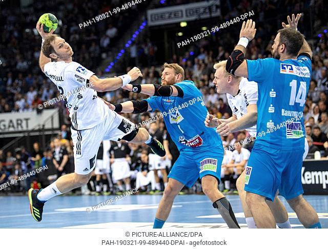 21 March 2019, Baden-Wuerttemberg, Stuttgart: Handball: Bundesliga, TVB Stuttgart - THW Kiel, 25th matchday in the Porsche Arena