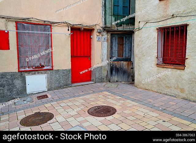 Small corner in the village. Horcajo de la Sierra, Madrid, Spain