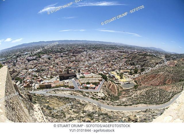 Fisheye view over the Spanish city of Lorca in Murcia Spain