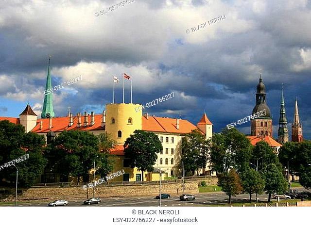 Riga, Latvia center wide view with Daugava river and blue sky