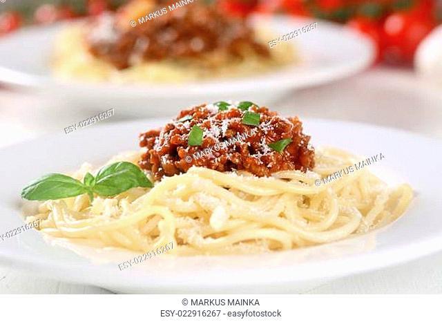 Spaghetti Bolognese Nudeln Pasta Gericht auf Teller