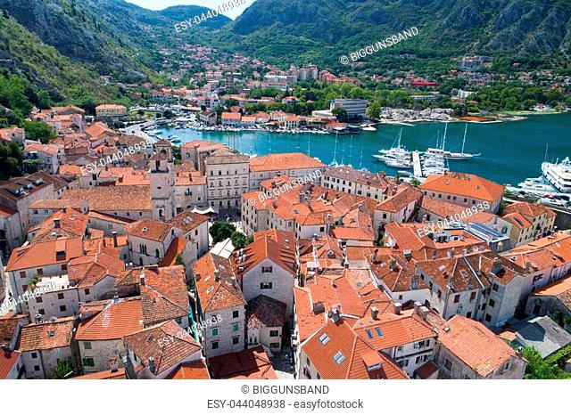 Aerial view of old town Kotor in Montenegro
