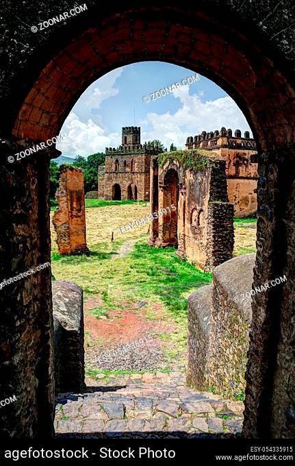 Fasilidas palace in Fasil Ghebbi site , view through arch, Gonder