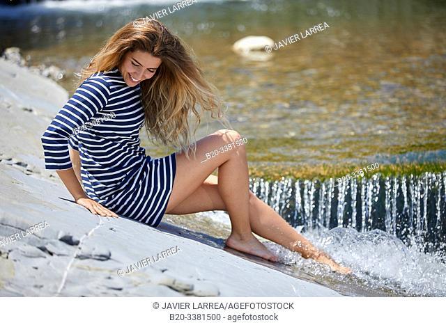 Woman by the sea, Route de La Corniche, Cantabrian Sea Coast, Hendaye, Aquitaine, Basque Country, France