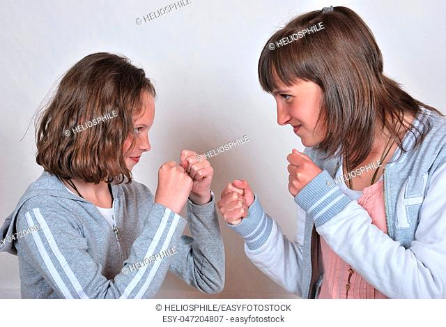 Sisters squabbling gently