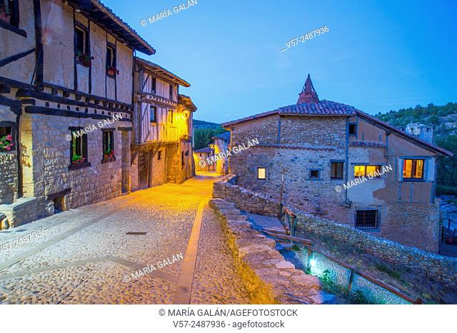 Mayor street, night view. Calatañazor, Soria province, Castilla Leon, Spain