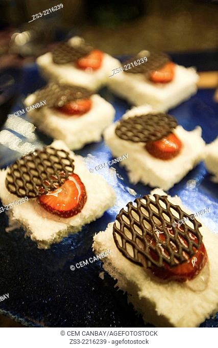 Dessert with chocolate and strawberries in pastry shop, Istanbul, Marmara Province, Turkey, Europe