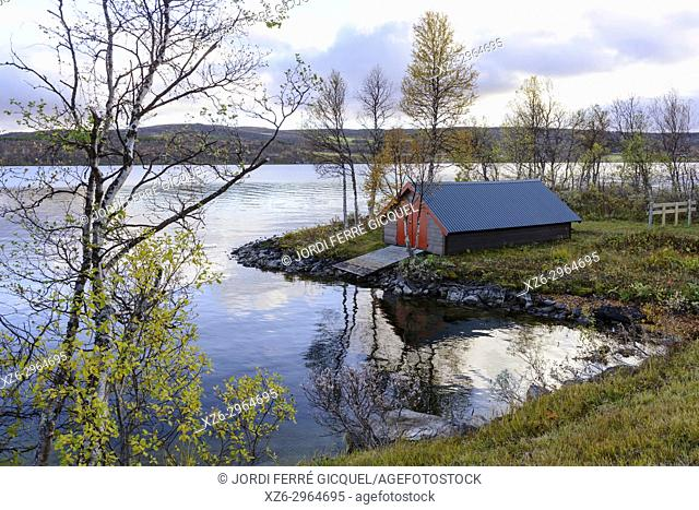 Aursunden lake, road FV561, Sør-Trøndelag county, Norway, Europe
