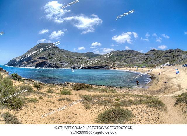 HDR Fisheye image of the Beach at Cala Reona in Murcia Spain