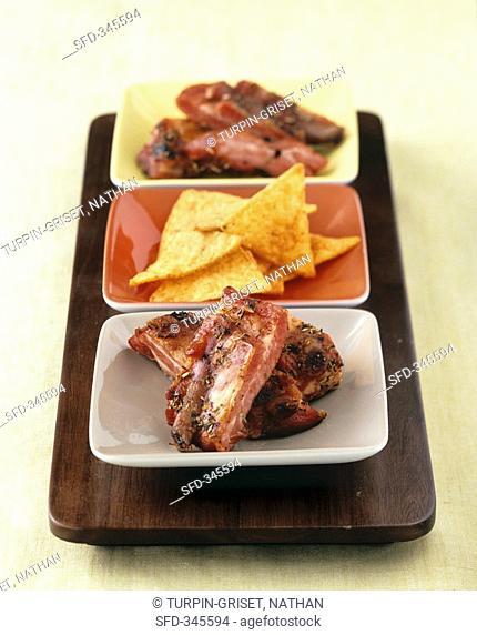 Grilled pork ribs with nachos
