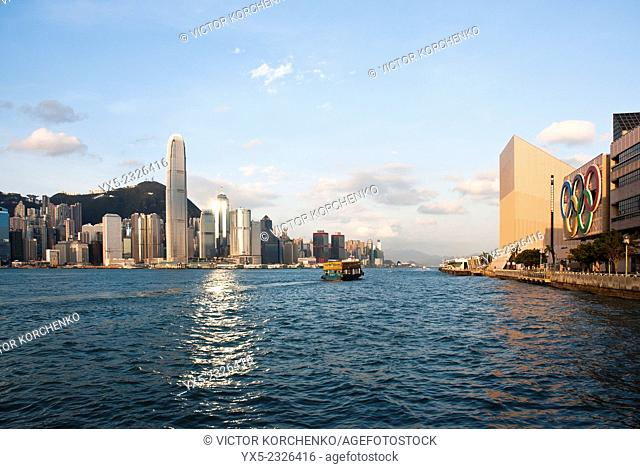 Hong Kong skyline, Victoria Harbour, Cultural Center and International Finance Centre tower