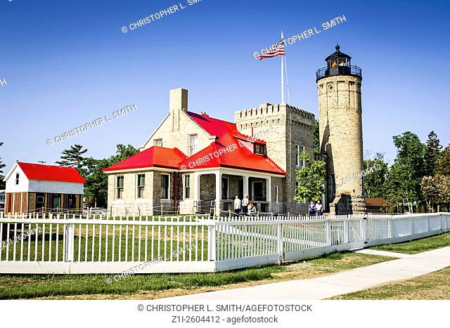 Old Mackinac Point Lighthouse in the Upper Penninsula Michigan MI