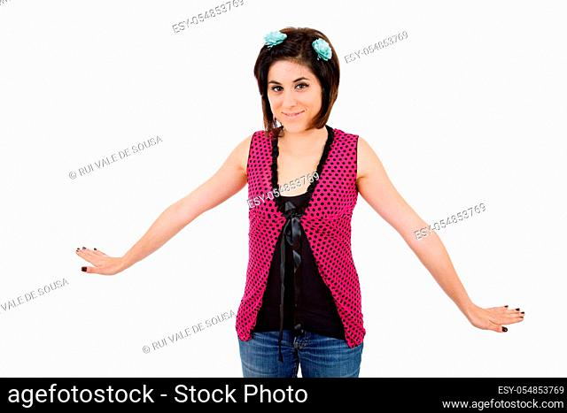 young happy beautiful woman, isolated in white