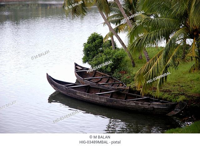 COUNTRY BOATS WAITING FOR COCONUT SHELLS VARKALA