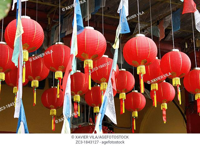 Entry of a buddhist temple, lanterns, UNESCO World Heritage Site, Georgetown, Penang Hill