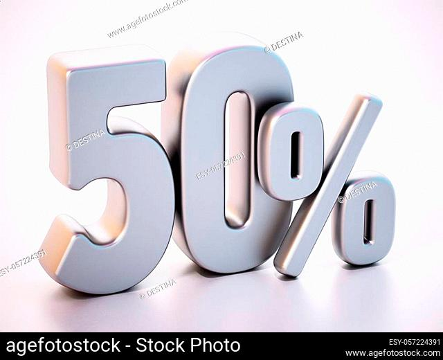 50 percent word standing on white surface with soft reflection. 3D illustration