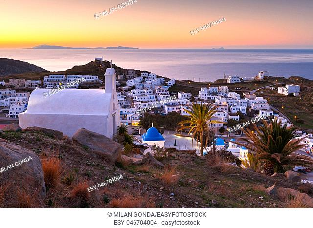 Morning view of Chora village on Ios island in Greece.