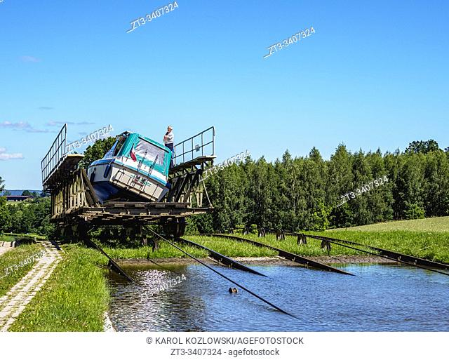 Private Boat in Cradle at Inclined Plane in Olesnica, Elblag Canal, Warmian-Masurian Voivodeship, Poland