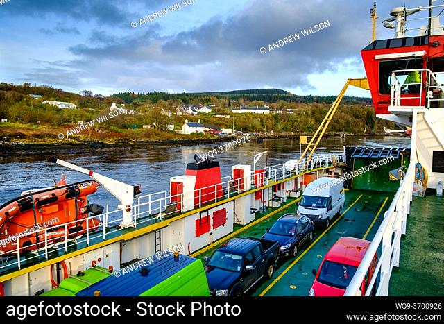 The car deck on the car ferry from Fishnish in Mull as she approaches Lochaline on the Scottish mainland
