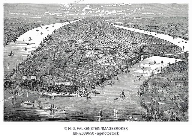 Cityscape of New York, overlooking the East River between Manhattan and the Hudson River, historic engraving, 19th Century, from the book by I Solskin Hjemmet