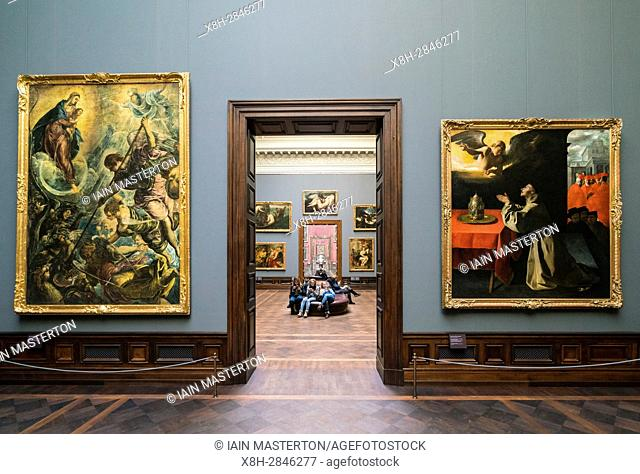 Interior of paintings gallery at Gemäldegalerie Alte Meister or Zwinger Museum in Dresden, Germany . Editorial Use Only