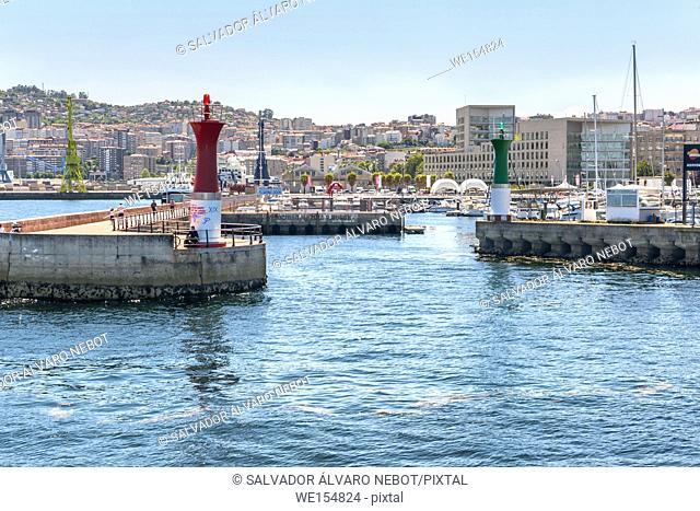 Entrance to the marina of Vigo, Vigo, Pontevedra, Galicia, Spain, Europe