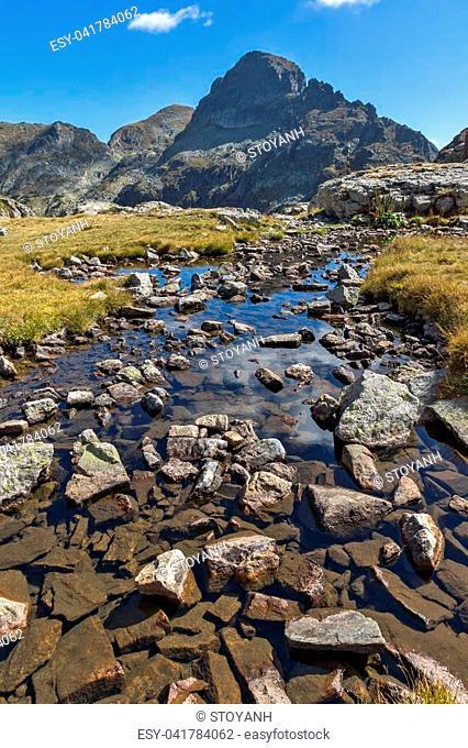 Amazing landscape of Orlovets peak and mountain river, Rila Mountain, Bulgaria