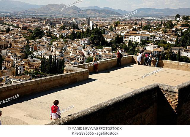 View over Granada from the Alcazaba, Alhambra Palace, Granada, Andalucia, Spain