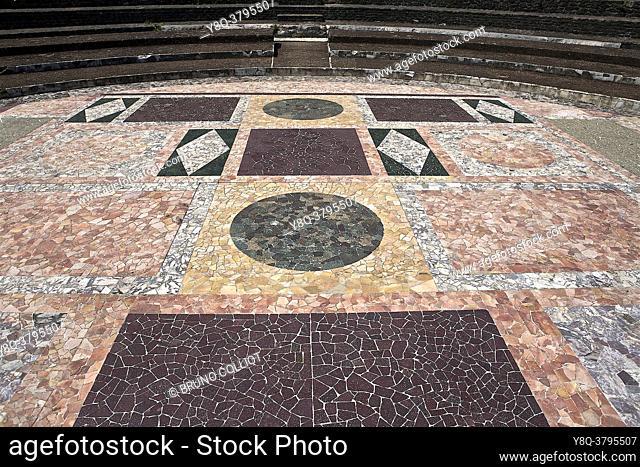 amphitheater of the odeon, gallo roman site of lyon, rhone, france
