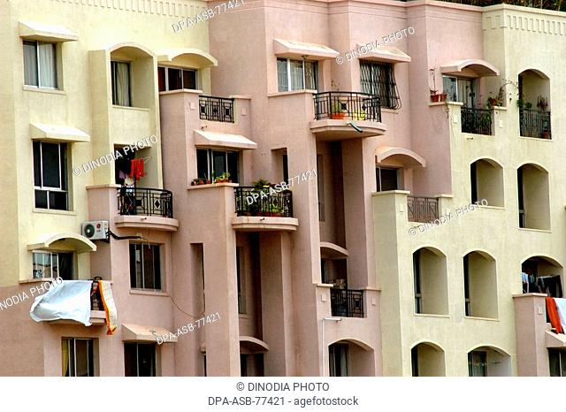 A modern multi storied residential complex building in Bangalore city ; Karnataka ; India