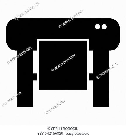 Plotter icon black color vector illustration flat style simple image