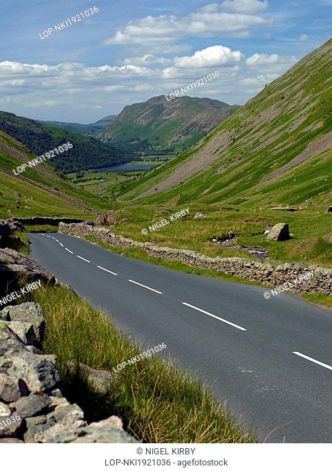 England, Cumbria, Kirkstone Pass. The Kirkstone Pass leading towards Brothers Water and Patterdale