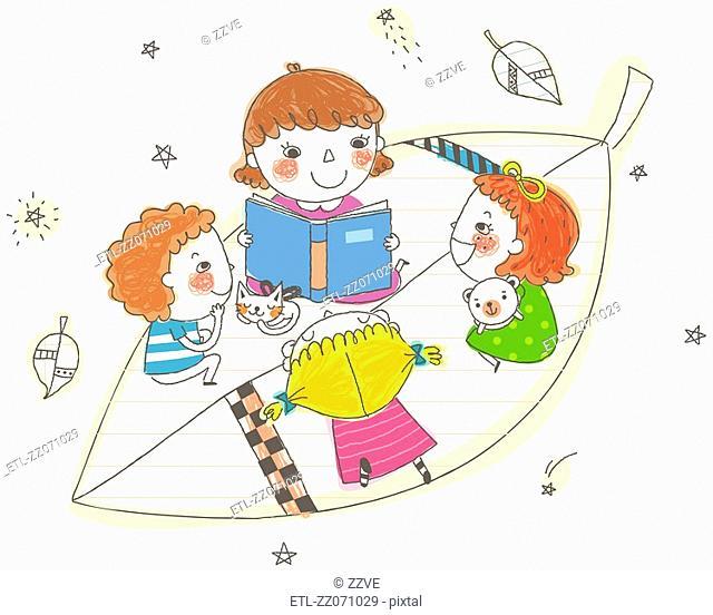 Girls sitting on leaf, reading book