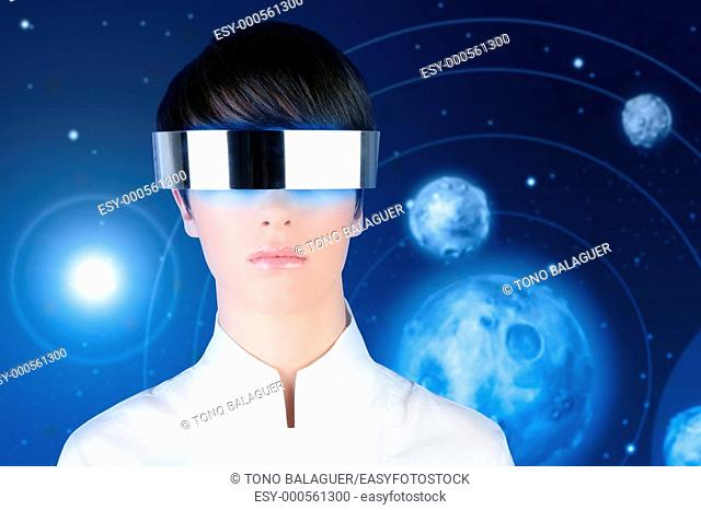 silver futuristic glasses android woman portrait space planets blue background