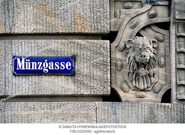 Munzgasse street name plate on the wall of Iwalewahaus building, mission of Iwalewahaus is to research, document and teach recent African culture