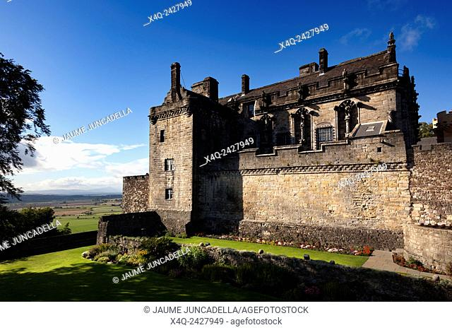 Stirling, Scotland - September 17, 2013: Stirling Castle, viewed from the palace gardens. The palace building was started by King James V in the early 1500s