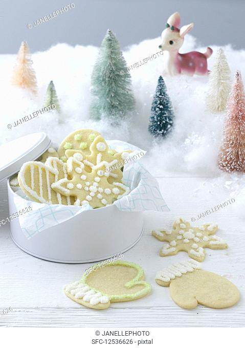 Christmas shortbread decorated with icing
