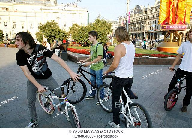 Sep 2008 - Young people on bicycle, Moscow, Russia