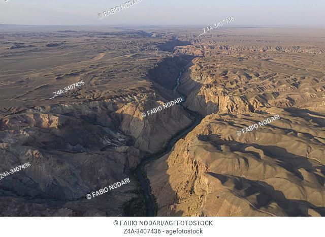 Aerial view of the Charyn Canyon and Charyn River in Kazakhstan, Central Asia, at sunset