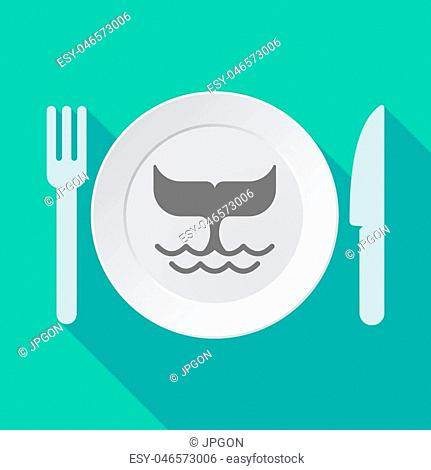 Illustration of a long shadow dish, fork and knife with a whale tail