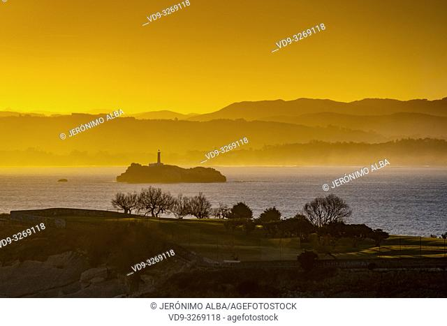 Panoramic view at sunrise. Viewpoint Lighthouse of Cabo Mayor. Santander coast and Cantabrian Sea. Cantabria, Spain. Europe